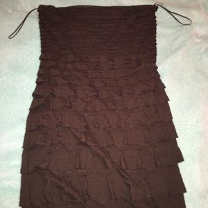 Brown and black sleeveless dresses